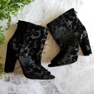 Torrid | Black Floral Velvet Peeptoe Booties